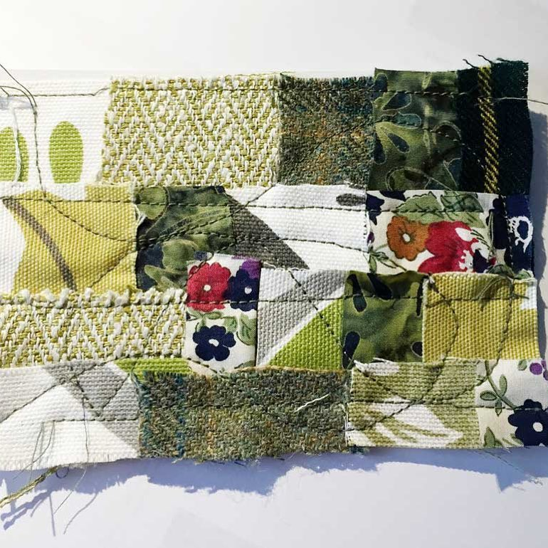 ICAD 2661 Todays prompt is Green Scraps of fabric stitchedhellip