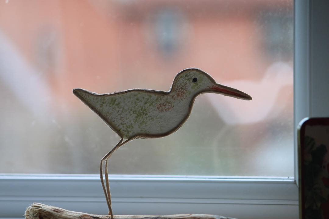 Godwit Paper covered wire handmade paper and driftwood Continue readinghellip